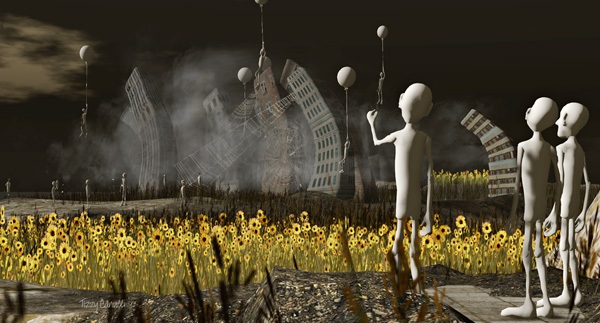 'Sunflowers and Balloons' in Second Life, photo by Tizzy Canucci
