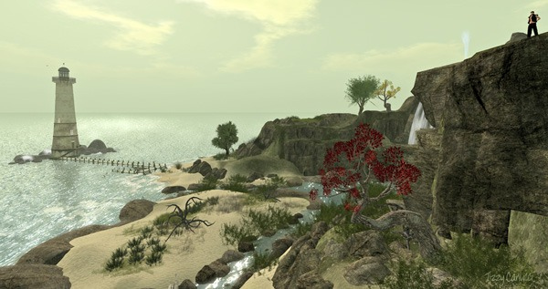 'Black Basalt Beach Lighthouse' in Second Life, photo by Tizzy Canucci