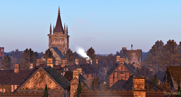 'Sunrise Across the Rooftops', at Goatswood, in Second Life, by Tizzy Canucci
