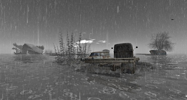 'Thunder, Truck and Water', in Second Life, photo by Tizzy Canucci