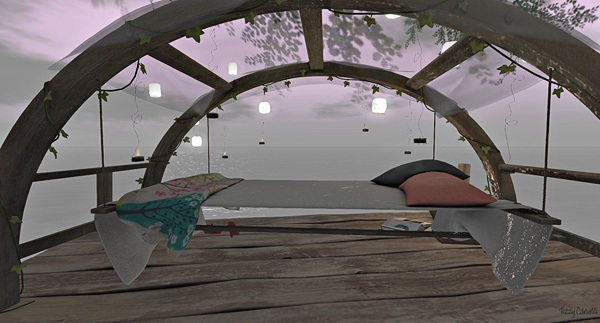 'Where to lay one's head at Winter Moon' in Second Life, photo by Tizzy Canucci