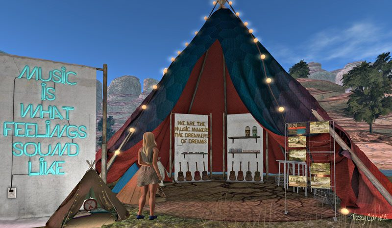 Indie Teepee festival in Second Life, photo by Tizzy Canucci
