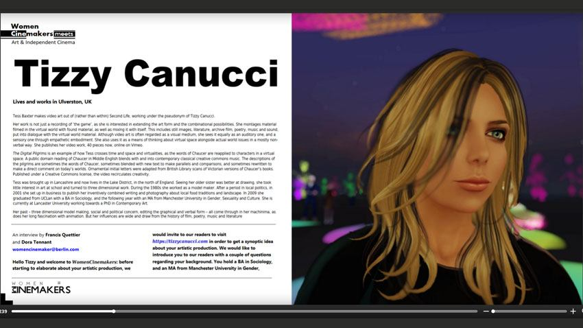 Women CineMakers article on Tizzy Canucci