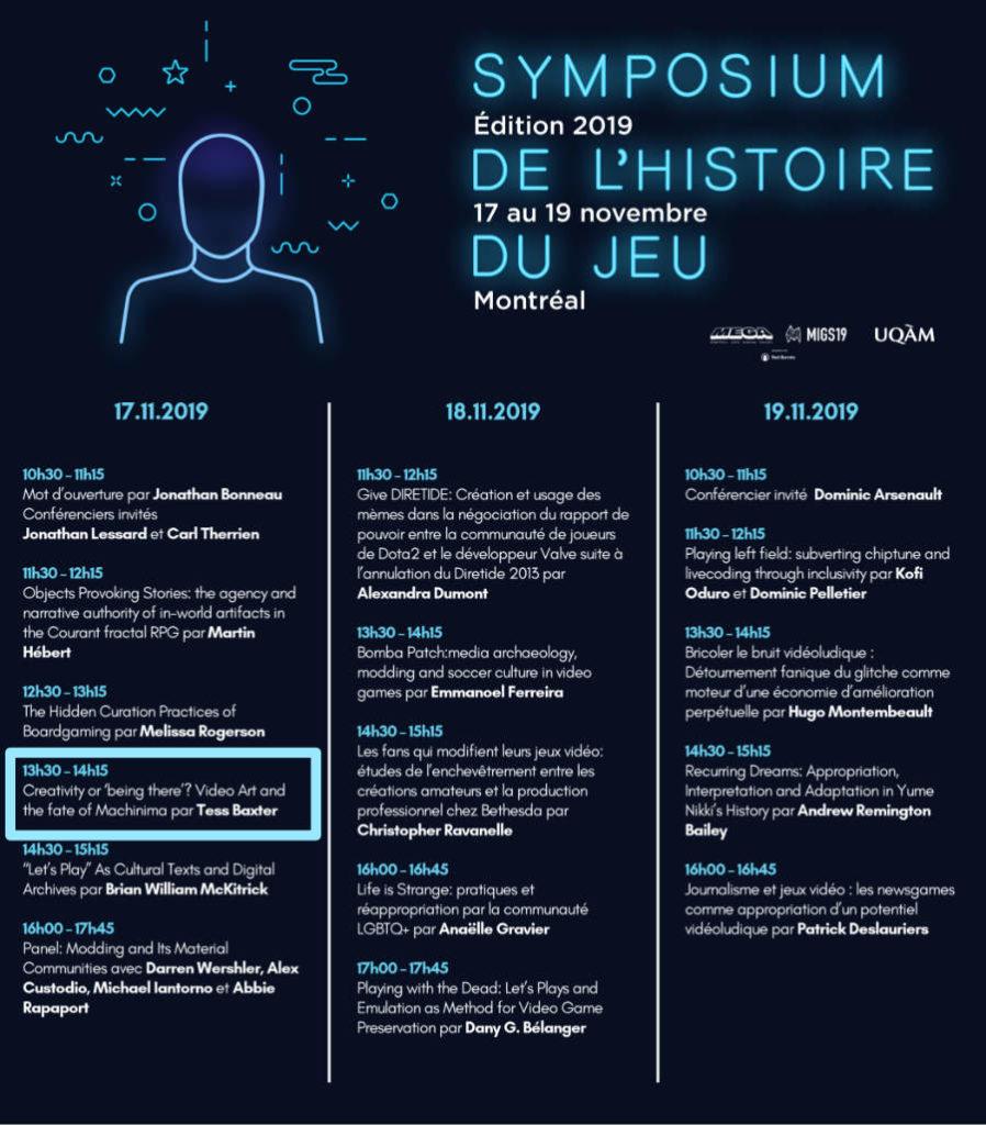 Symposium de l'histoire du jeu, Montreal November 2019